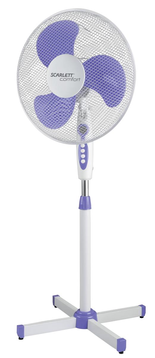 Напольный вентилятор Scarlett SC-SF111B10, белый фиолетовый вентилятор scarlett sc 176