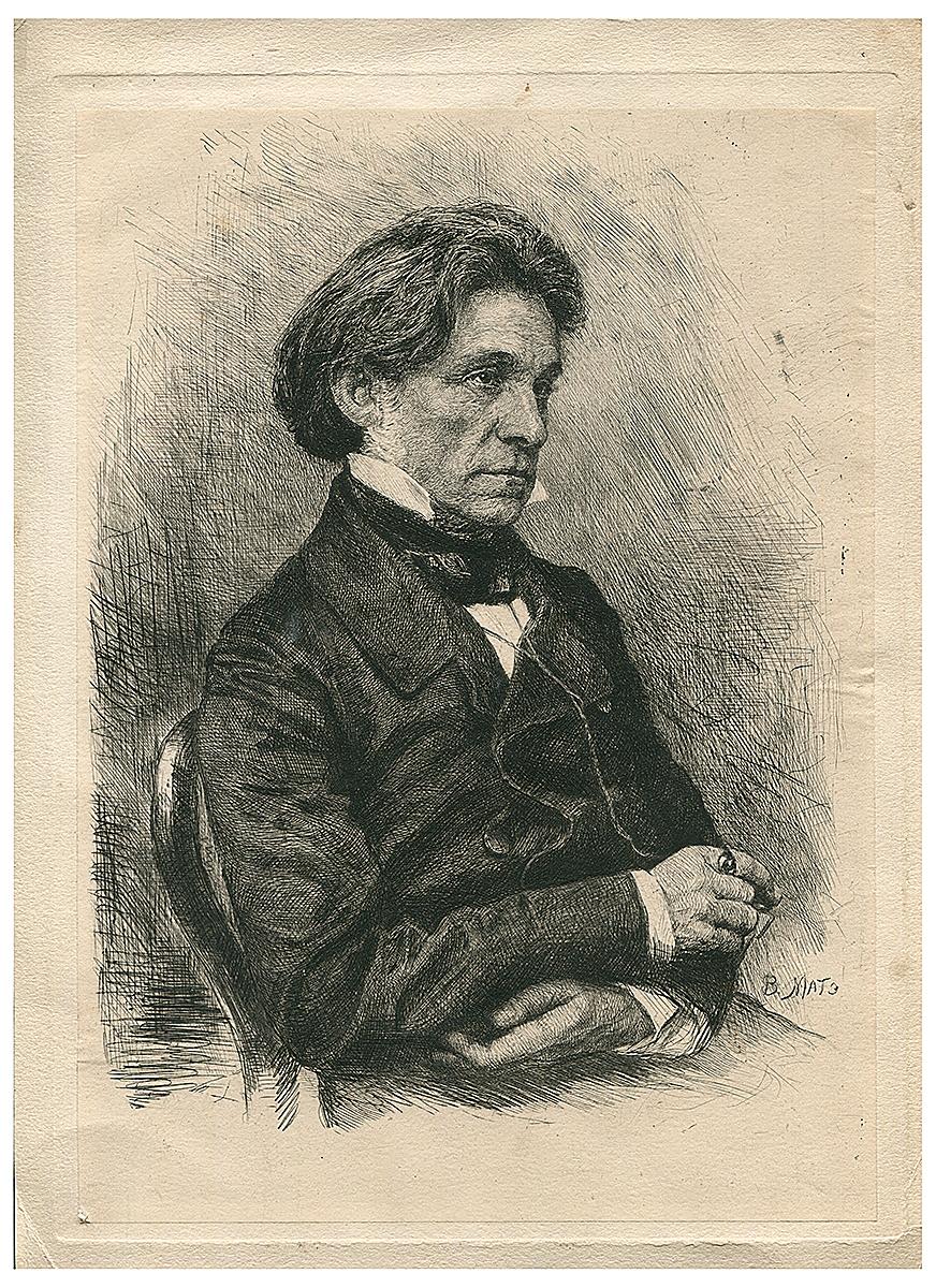 Портрет Ф. Бруни. Офорт. Россия, вторая половина XIX века