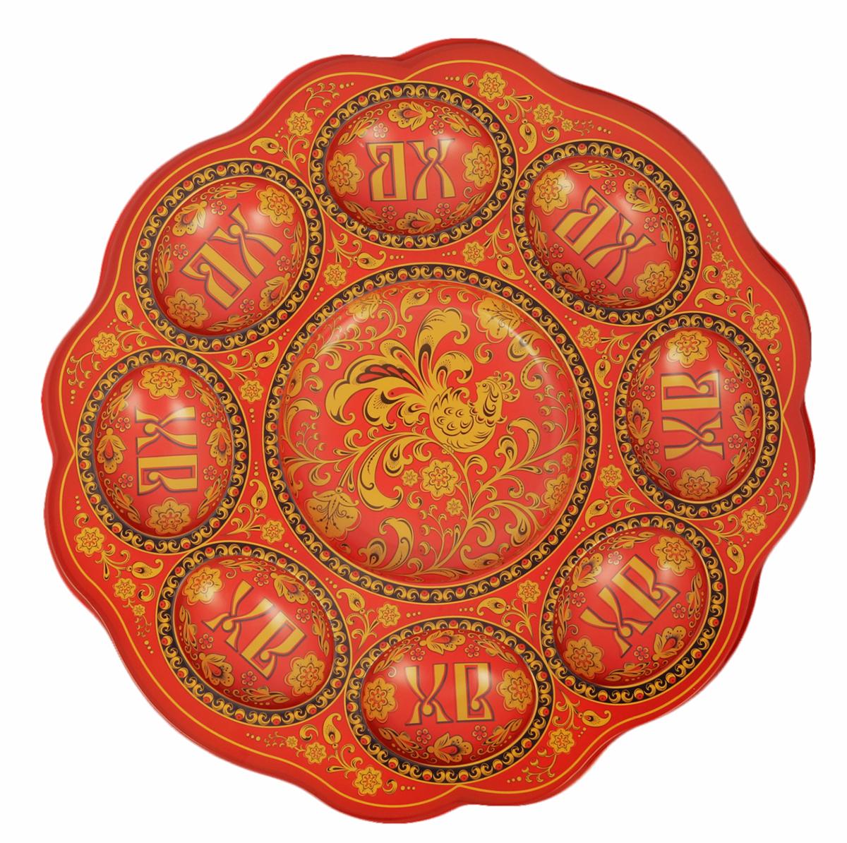 Подставка для яйца Хохлома, цвет: красный, на 8 яиц и кулич, 24 х 25 см. 1653885 подставка для яйца городетская на 8 яиц и кулич 24 х 25 см 1653890