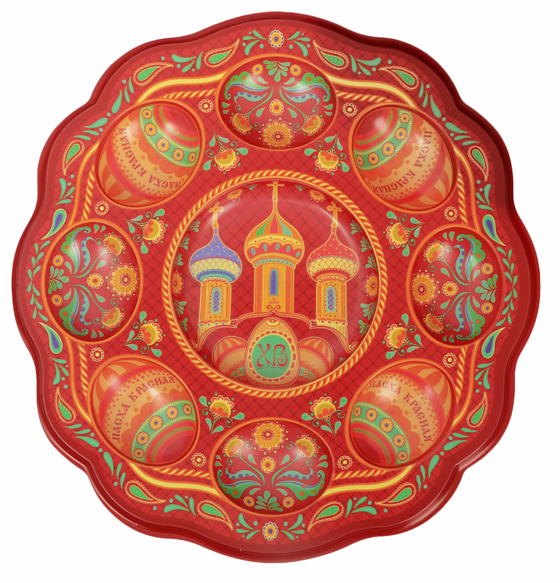 Подставка для яйца Храм, цвет: красный, на 8 яиц и кулич, 24 х 25 см. 1653900 подставка для яйца городетская на 8 яиц и кулич 24 х 25 см 1653890