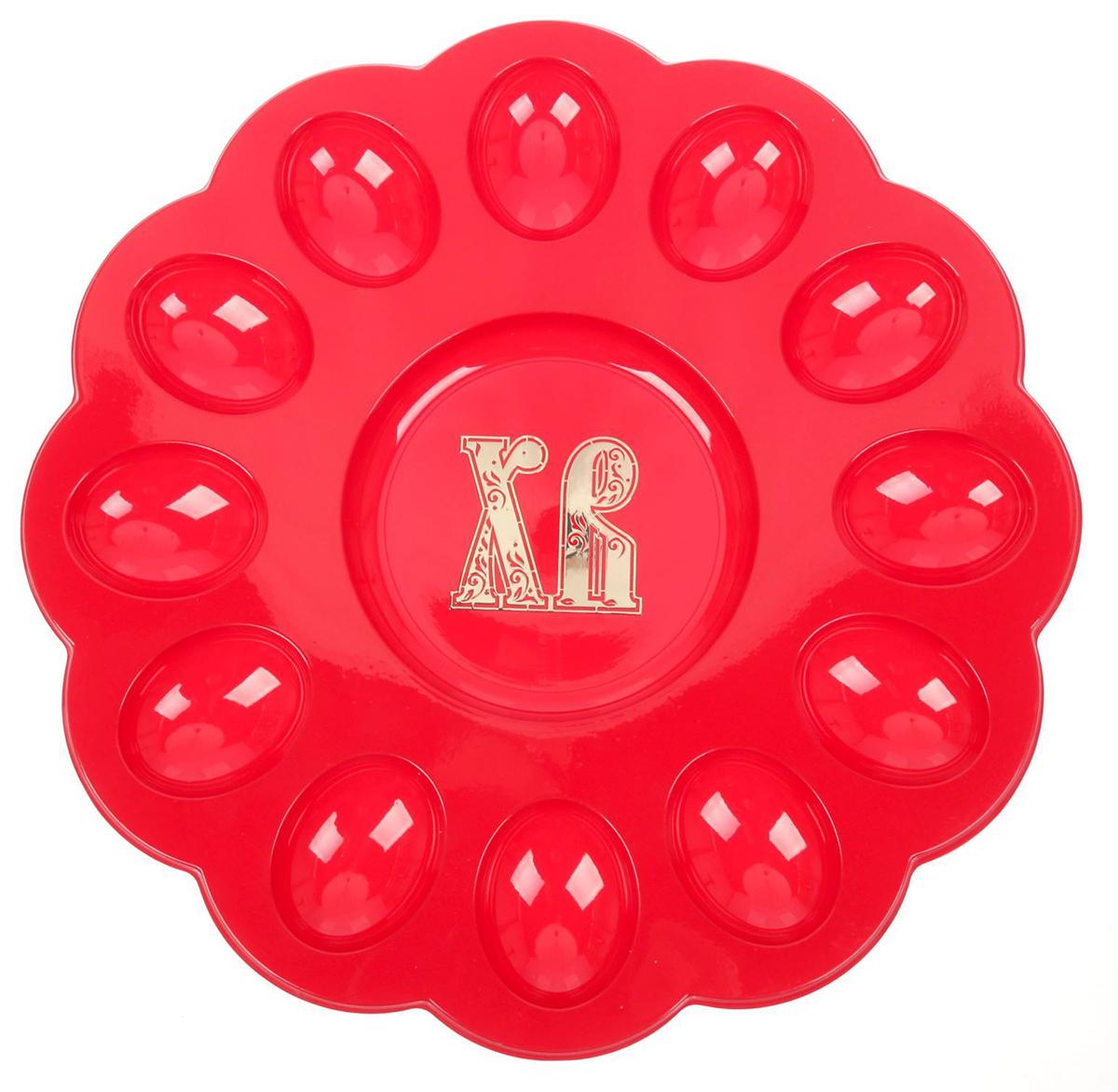 Подставка для яйца ХВ, цвет: красный, на 12 яиц и кулич, 30 х 30 см. 1653910 подставка для яйца городетская на 8 яиц и кулич 24 х 25 см 1653890