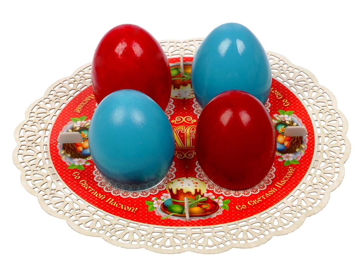 Подставка для яйца Кулич, цвет: красный, на 4 яйца, 18,4 х 18,4 см. 1761484 подставка для яйца городетская на 8 яиц и кулич 24 х 25 см 1653890