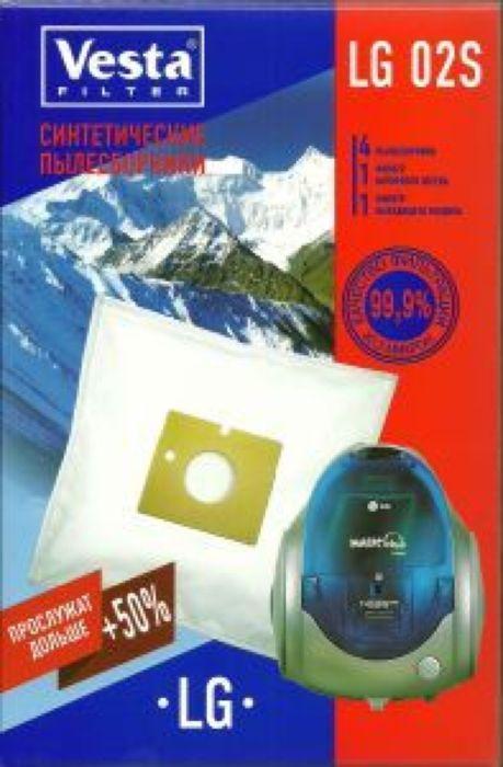 Vesta filter LG 02 S комплект пылесборников, 4 шт + 2 фильтра комплект пылесборников vesta filter lg 03 5 шт