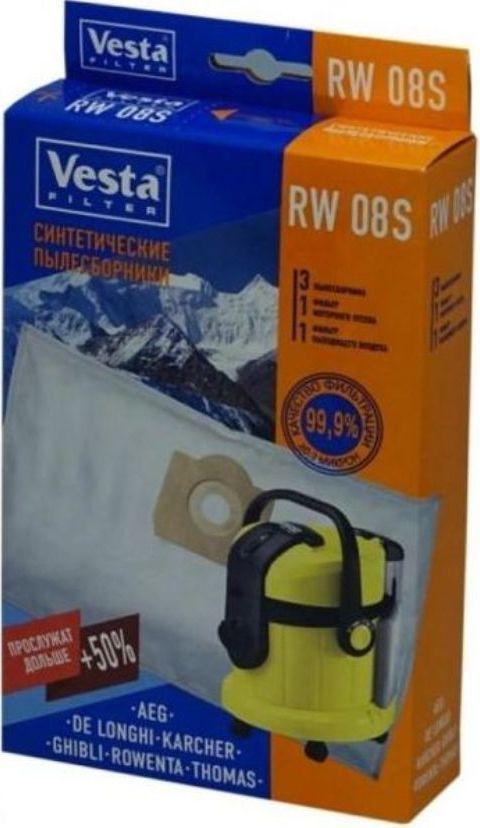 Vesta filter RW 08 S комплект пылесборников для Karcher, 3 шт + 2 фильтра vesta filter zr 02 s комплект пылесборников 4 шт 2 фильтра
