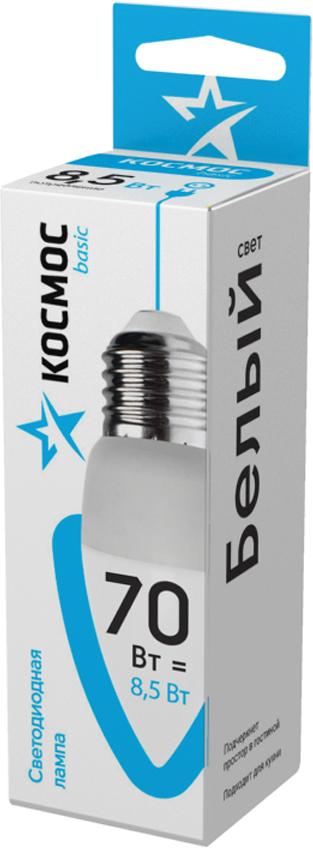 """Лампа светодиодная Космос """"Свеча"""", 220V, нейтральный свет, цоколь E27, 8.5W"""