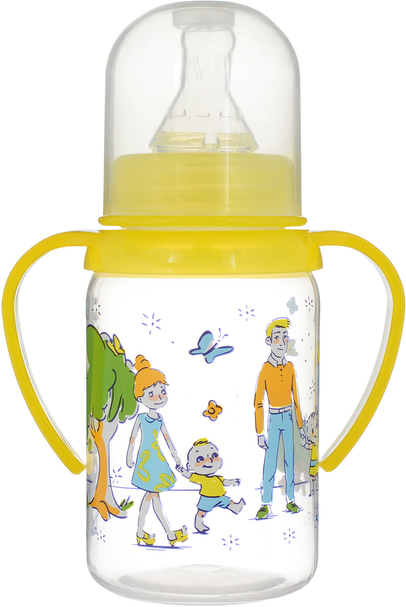 Курносики Бутылочка для кормления Семья от 6 месяцев цвет желтый 125 мл набор крошка я джентльмен бутылочка для кормления 125 мл боди 9 12 месяцев 3311494