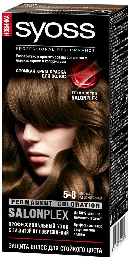 Syoss Color Краска для волос оттенок 5-8 Ореховый светло-каштановый, 115 мл syoss color краска для волос 5 8 ореховый светло каштановый