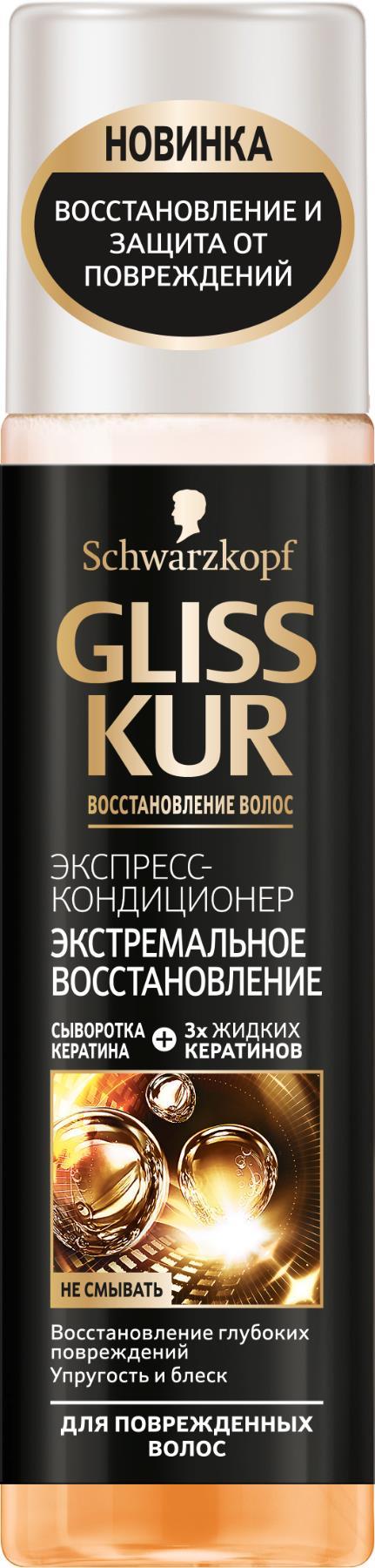 Gliss Kur Экспресс-кондиционер Экстремальное восстановление, для сильно поврежденных и сухих волос, 200 мл экспресс кондиционер экстремальное восстановление для поврежденных и сухих волос 200 мл