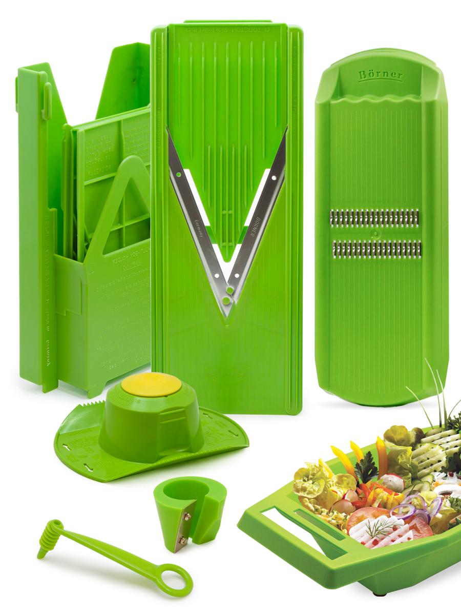 судок для овощерезок и тёрок borner моделей классика и тренд цвет сиреневый Овощерезка Borner комплект Классика Экстра, цвет: салатовый, 10 предметов