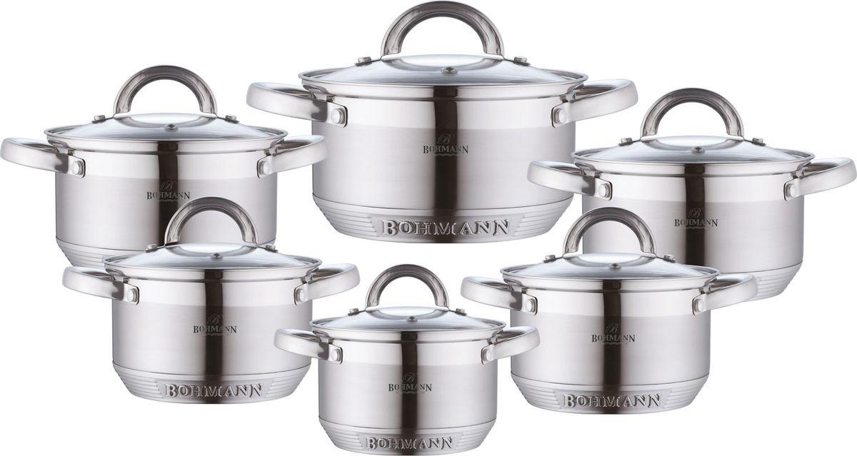 Набор посуды Bohmann, 12 предметов. 0717BH0717BHНабор кухонной посуды Bohmann изготовлен из высококачественной нержавеющей стали с 7-ми шаговым капсульным дном. Изделия снабжены крышками из термостойкого стекла с паровыпуском, а также удобными стальными ручками. Подходит для всех видов плит(включая индукционную) и для духового шкафа.Мерная шкала, которая быстро помогает хозяйке определить литраж содержимого кастрюли.