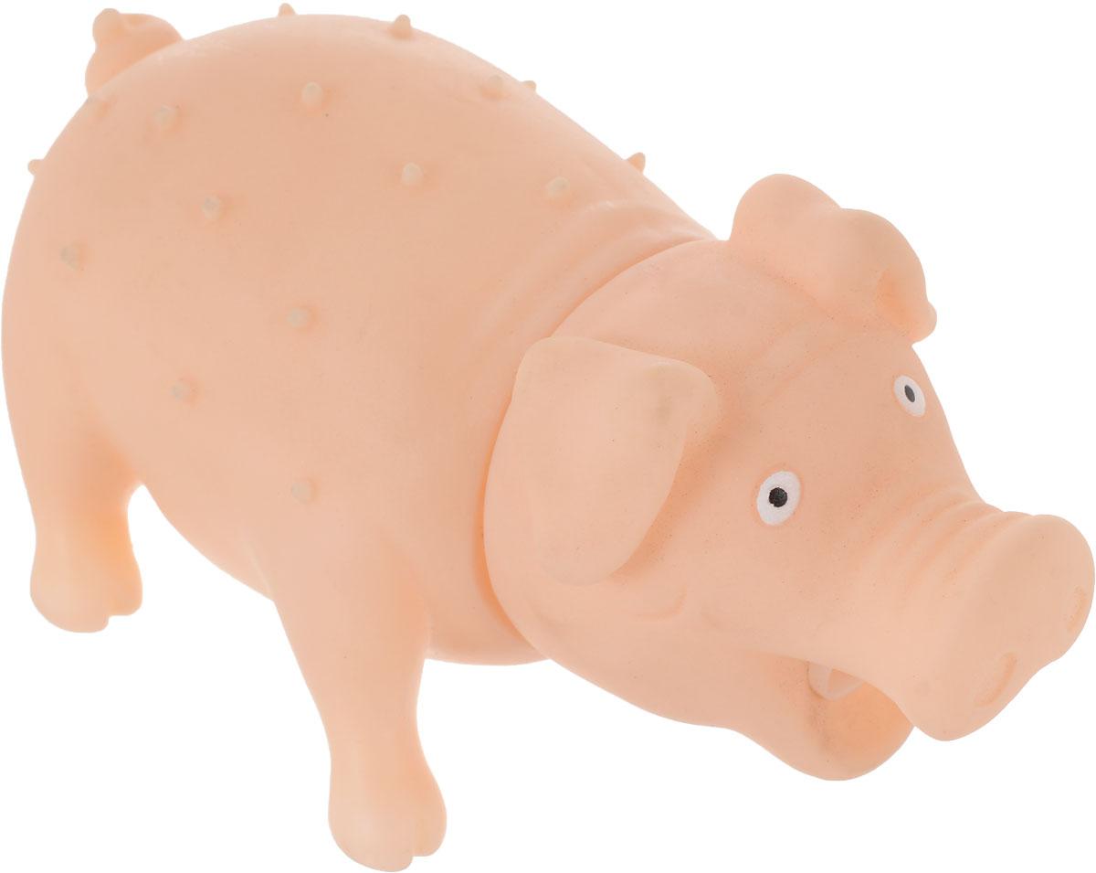 Игрушка для собак Уют Свинья, цвет: телесный, 16 x 7 см игрушка для собак уют звездочка с шипами цвет салатовый 7 см
