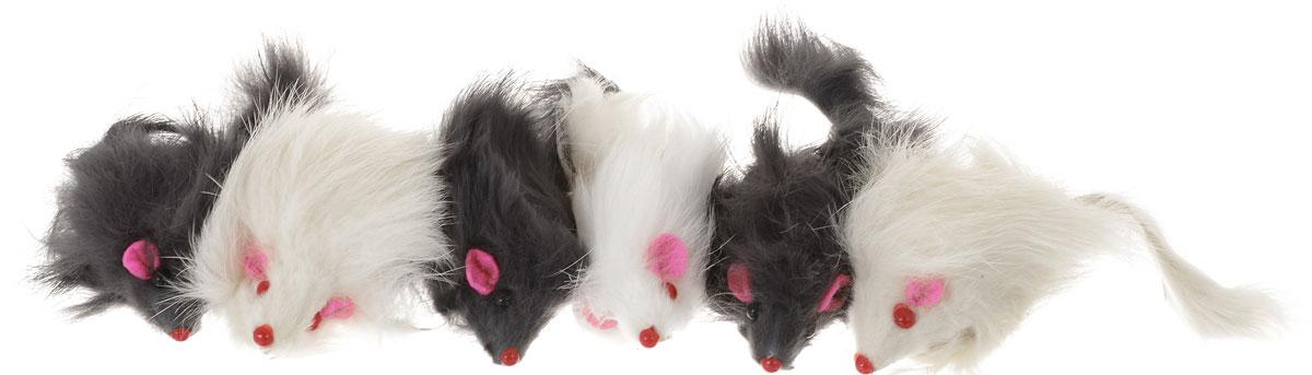 Игрушка для кошек Уют Мышь, цвет: белый, черный, 6 шт leooss белый цвет 6 ярдов
