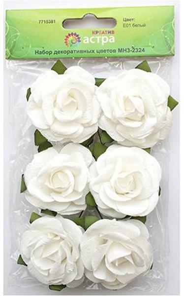 Набор декоративных цветов Астра, цвет: белый, 4,3 х 2 см, 6 шт набор декоративных цветов scrapberry s цвет белый 10 шт