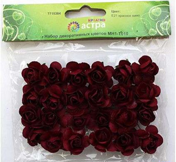 """Набор декоративных цветов """"Астра"""", цвет: бордовый, 2 х 2 см, 24 шт"""