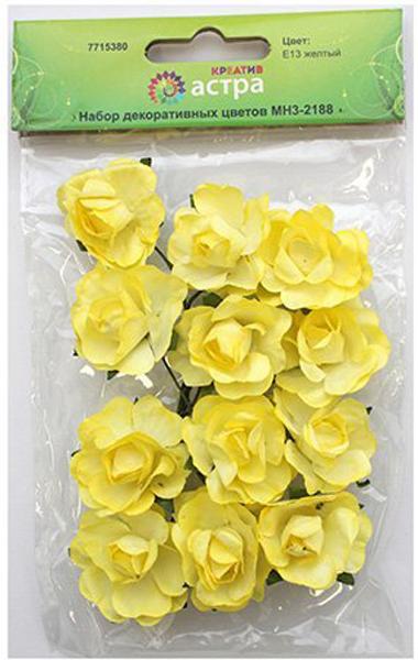 "Набор декоративных цветов ""Астра"", цвет: желтый, 3 х 1,5 см, 12 шт"
