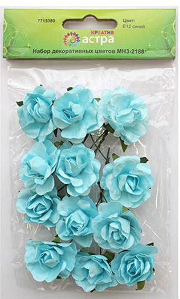 """Набор декоративных цветов """"Астра"""", цвет: синий, 3 х 1,5 см, 12 шт"""