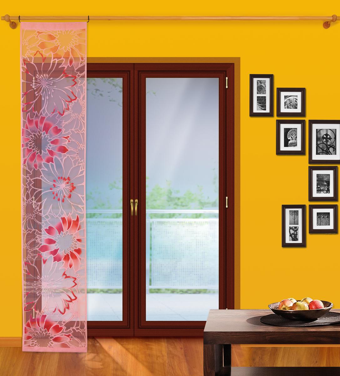 Гардина-панно Wisan, на штанге, цвет: розовый, ширина 50 см, высота 250 см комплект штор wisan цвет коричневый высота 250 см 030w