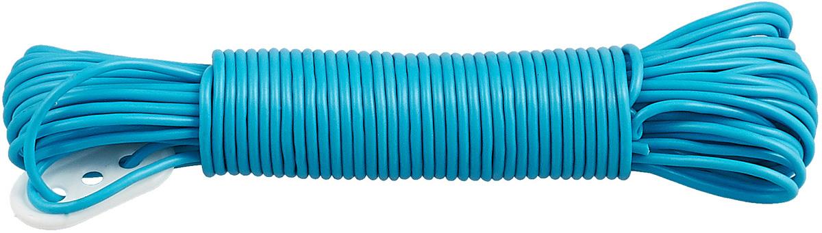 Веревка бельевая Rozenbal Эко, пластиковая, цвет: голубой, 20 м веревка бельевая axentia цвет красный длина 30 м