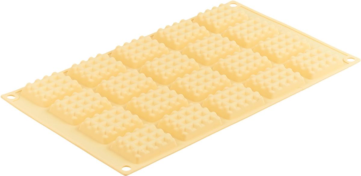 Форма для выпечки Marmiton Прямоугольное печенье, силиконовая, цвет: желтый, 20 ячеек смесь для выпечки почти печенье 40 700