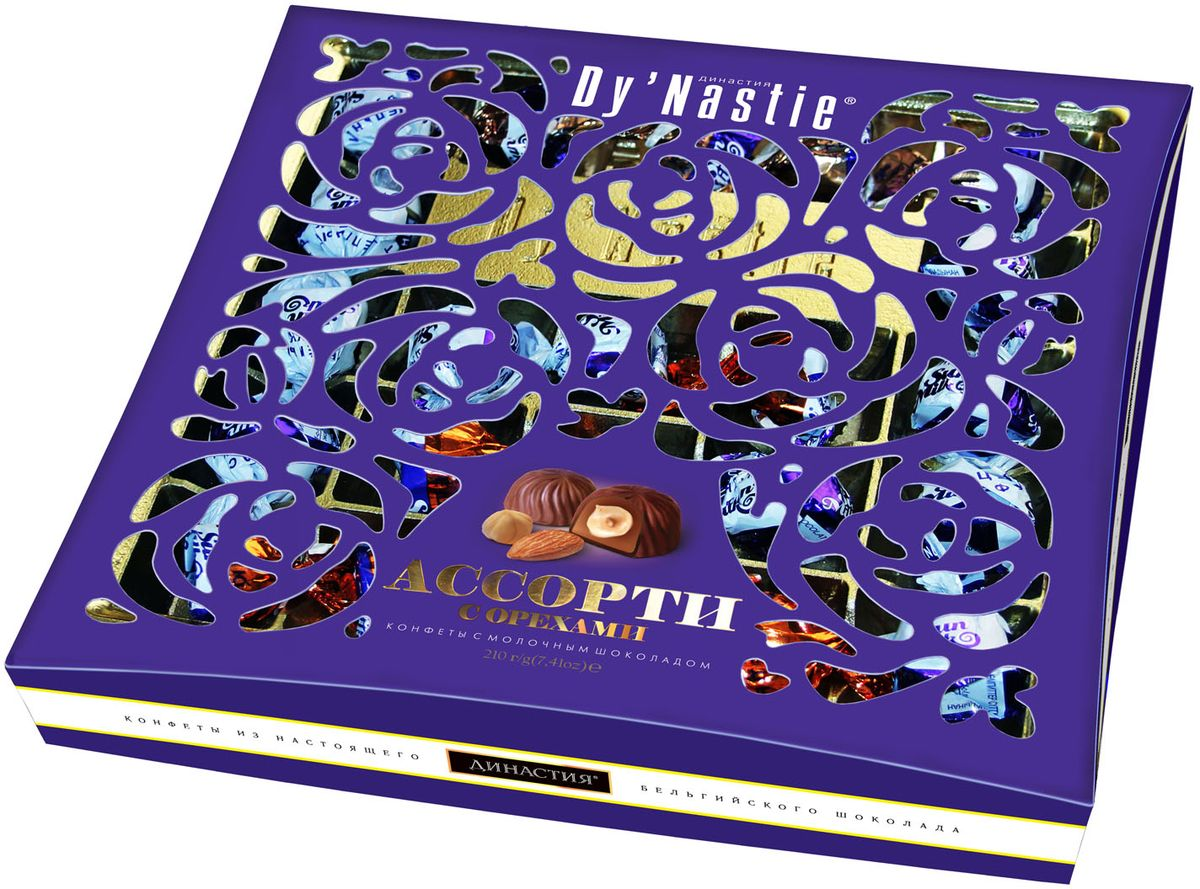 Династия ассорти конфет с орехами в молочном шоколаде, 210 г б ю александров сырки творожные глазированные в молочном шоколаде с ванилином 15