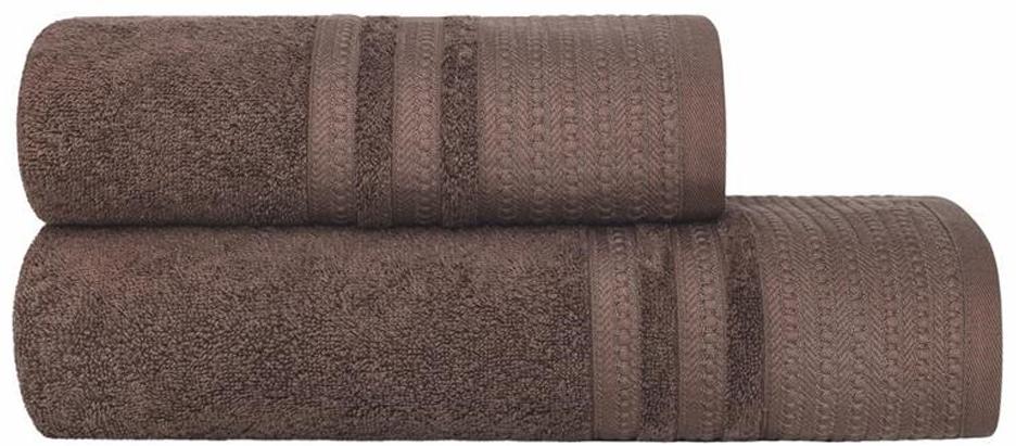 Набор банных полотенец Estia Ромуль, цвет: темно-коричневый, 2 шт комплект из 2 махровых банных полотенец из биохлопка