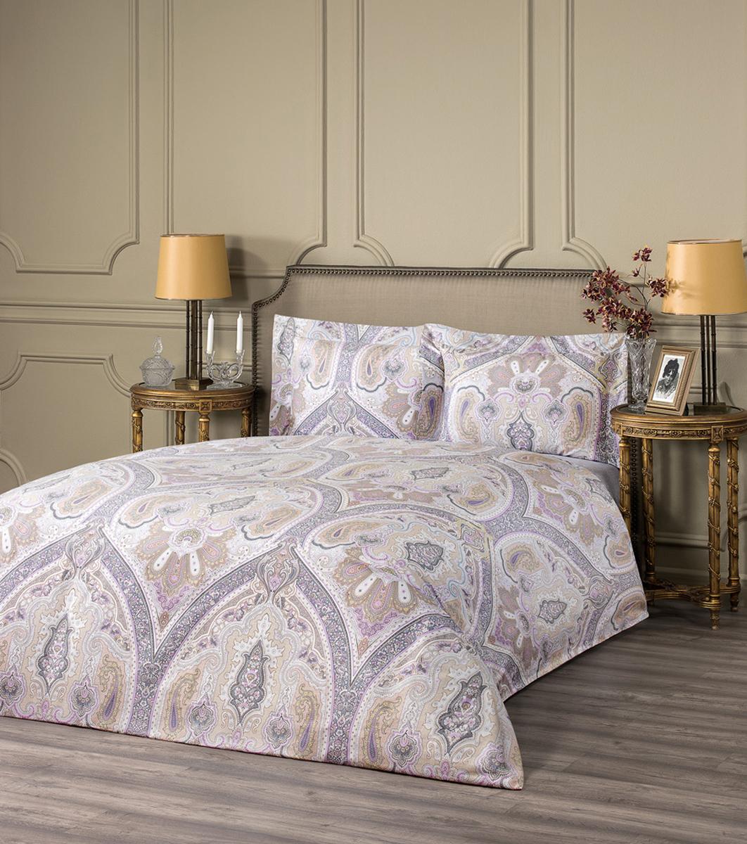 """Комплект белья Estia """"Тиволи"""", 1,5-спальный, наволочки 50x70, цвет: сиреневый"""