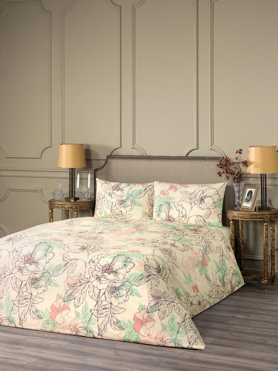 """Комплект белья Estia """"Фьюджи"""", 1,5-спальный, наволочки 50x70, цвет: бежевый"""
