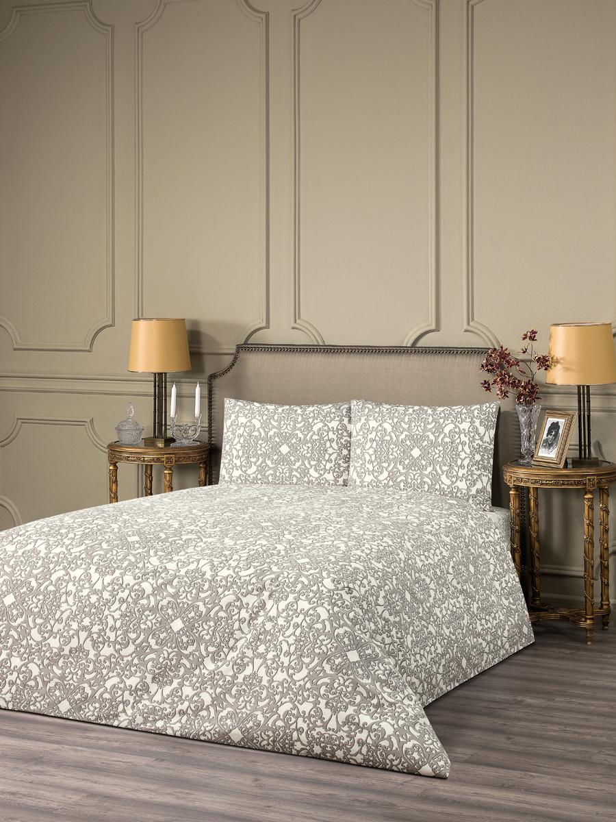 """Комплект белья Estia """"Вольтерра"""", 1,5-спальный, наволочки 50x70, цвет: белый, коричневый"""