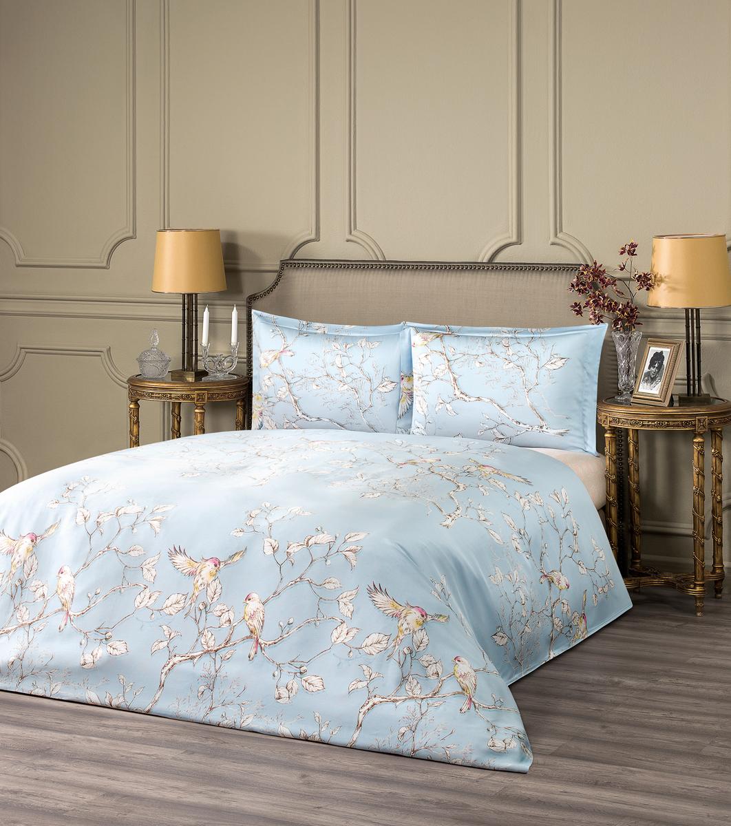 """Комплект белья Estia """"Фиеста"""", 1,5-спальный, наволочки 50x70, цвет: светло-голубой"""