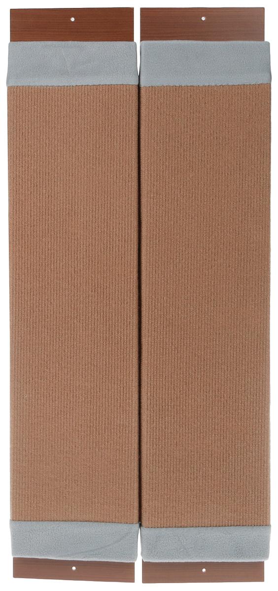 Когтеточка навесная Уют, угловая, ковролин, цвет: коричневый, серый, 72 х 17 х 5 см когтеточка угловая неженка с кошачьей мятой цвет темно серый коричневый 68 х 30 х 2 5 см