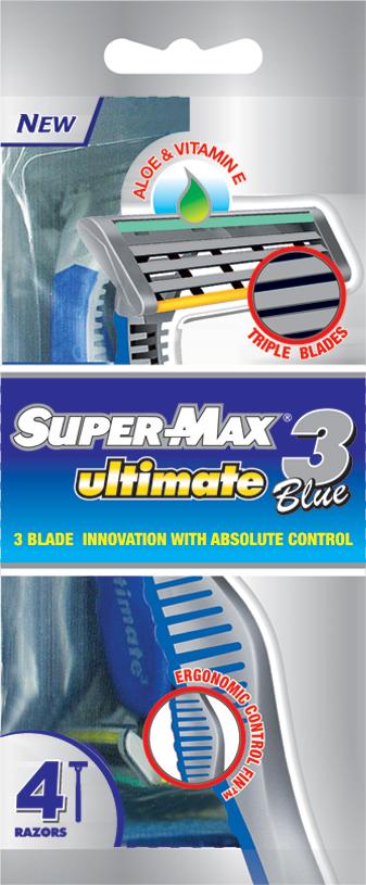 Super-Max Ultimate 3 Одноразовые станки с тройным лезвием, 4 шт