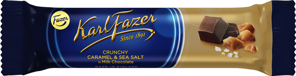 Karl Fazer батончик из молочного шоколада с кусочками карамели и морской солью, 37 г gbs конфеты фигурные из молочного шоколада с воздушным рисом и вкусом карамели 75 г