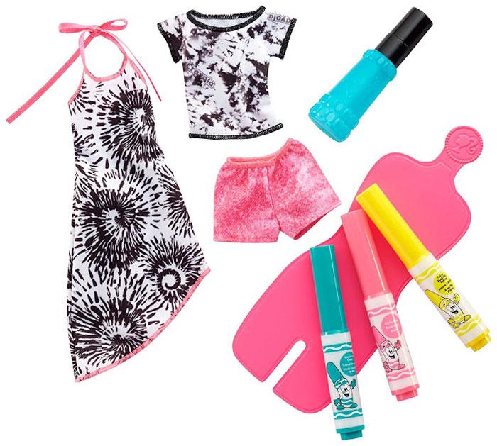 где купить Barbie Игровой набор Crayola Сделай моду сам цвет бирюзовый розовый желтый дешево
