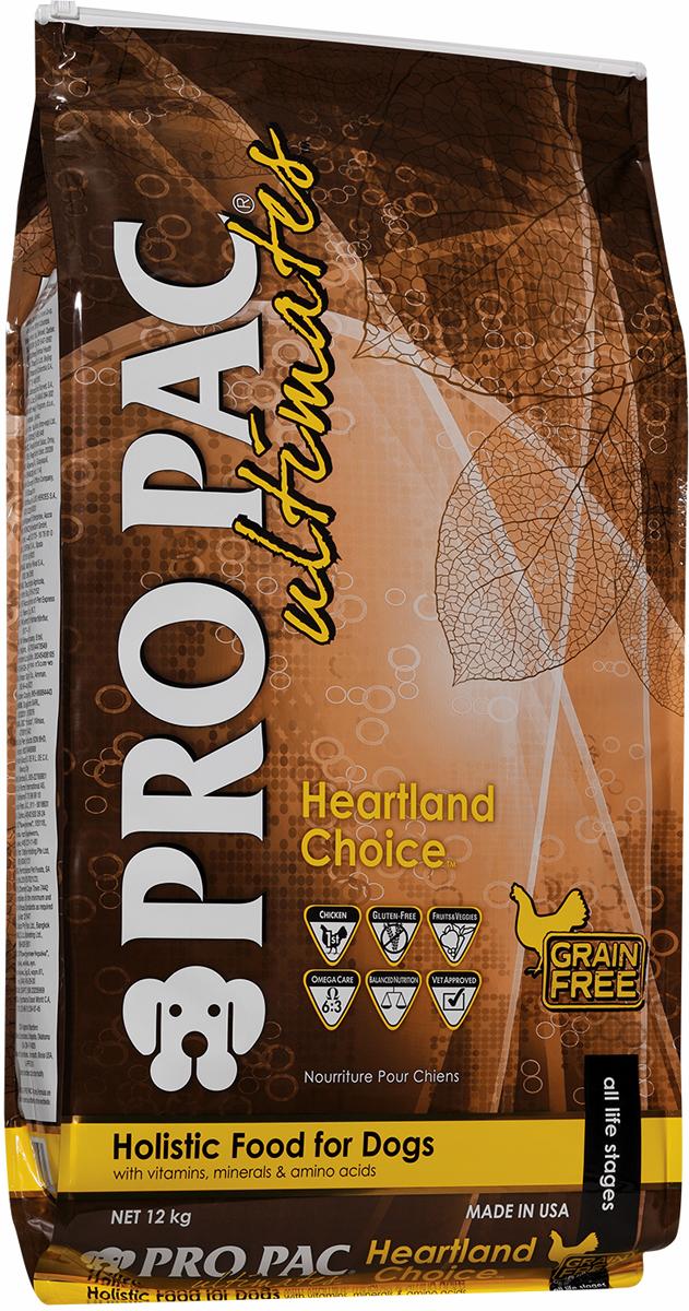 """Корм сухой Pro Pac Ultimates """"Суперпремиум. Heartland Choice"""" для взрослых собак, с курицей и картофелем, 12 кг"""