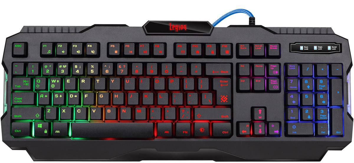 Игровая клавиатура Defender Legion GK-010DL RU, Black клавиатура defender stalker gk 170l ru black usb проводная 87 клавиш
