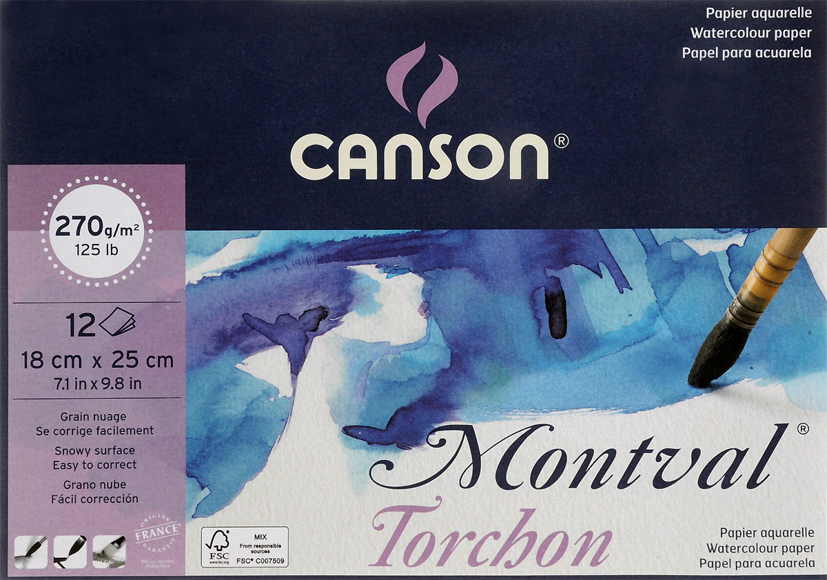 Фото - Canson Альбом для акварели Montval 18 х 25 см 12 листов canson альбом для смешанных техник xl mix media 14 8 х 21 см 15 листов