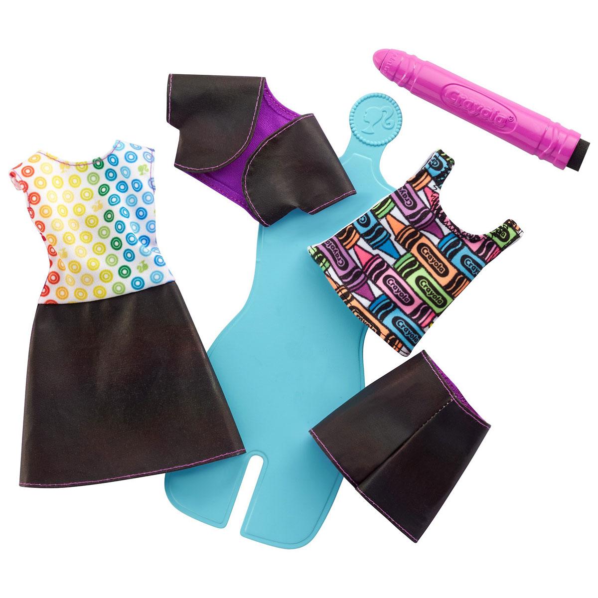 Barbie Игровой набор Crayola Раскрась наряды цвет голубой сиреневый