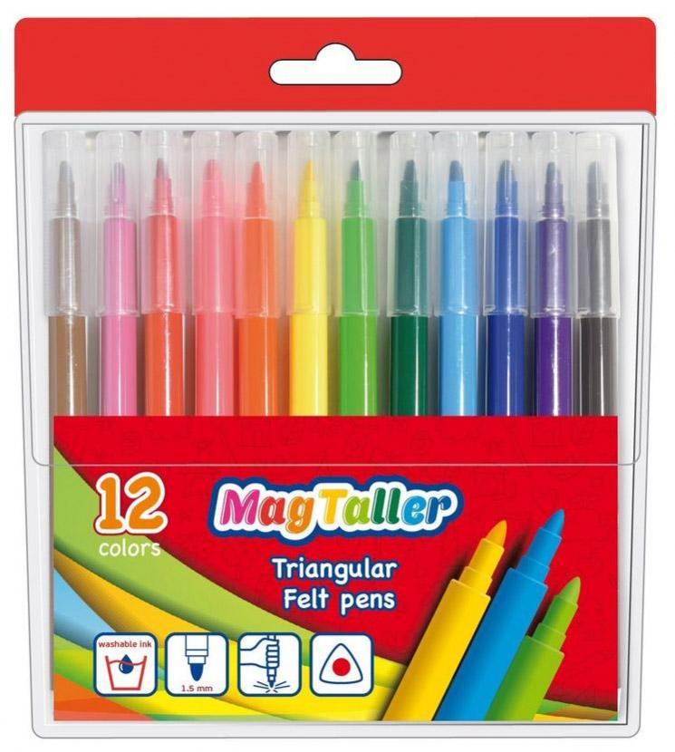 MagTaller Набор фломастеров Trio 12 цветов набор цветных фломастеров fibralo акварель 30 цветов