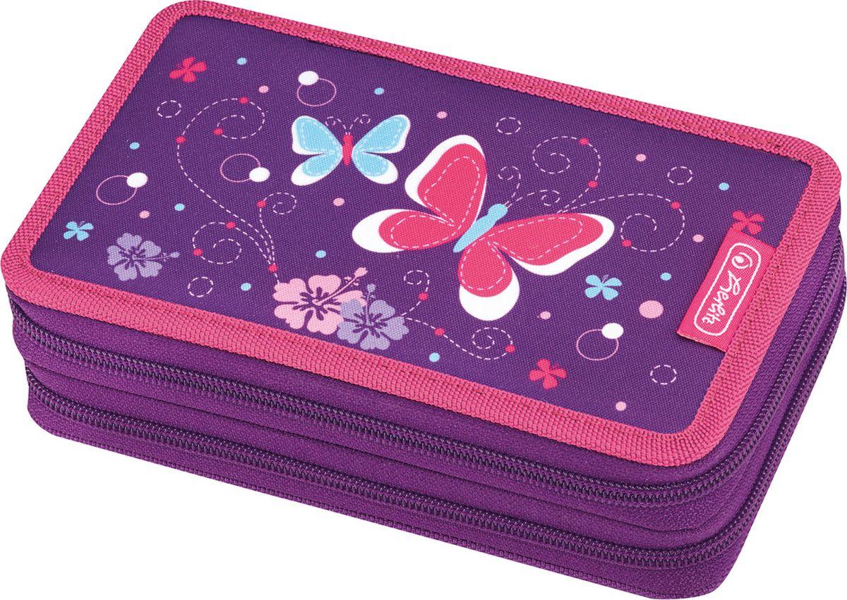 Herlitz Пенал с наполнением Purple Butterfly 23 предмета недорого