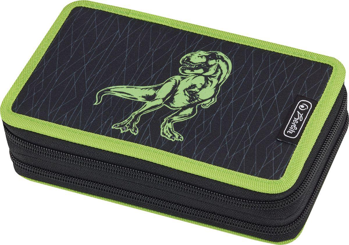 Herlitz Пенал с наполнением Green Dino 23 предмета недорого