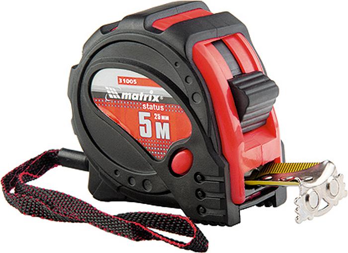 Рулетка Matrix Status Magnet 3 Fixations, с магнитным зацепом, цвет: красный, 25 мм х 5 м