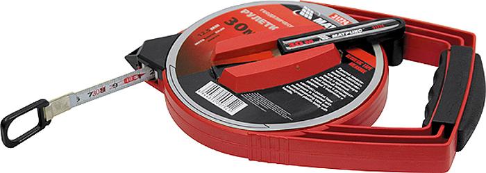 Рулетка геодезическая Matrix, металлическая лента, закрытый корпус, цвет: черный, красный, 12,5 мм х 50 м