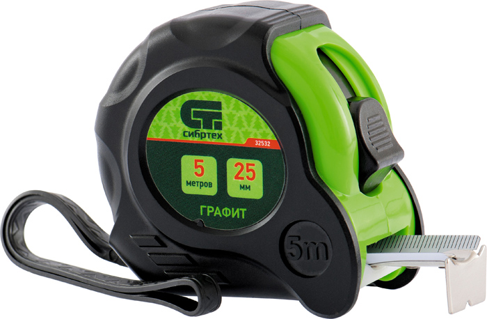 Рулетка Сибртех Графит, с амортизатором, цвет: черный, зеленый, 19 мм х 5 м
