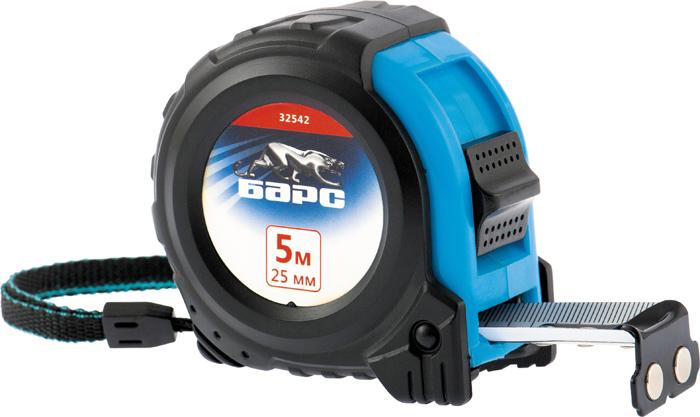 Рулетка Барс Вектор, с утолщенным полотном и магнитным зацепом, цвет: черный, голубой, 25 мм х 5 м цена