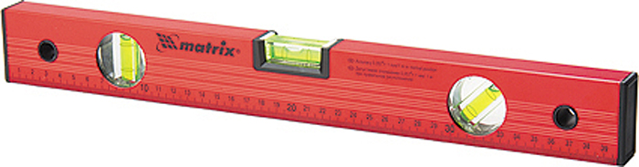 """Уровень """"Matrix"""", с линейкой, 3 глазка, цвет: красный, 400 мм"""