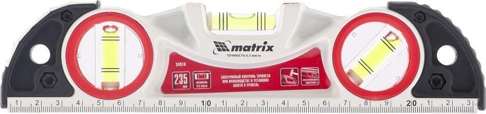 """Уровень """"Matrix"""", литой, фрезерованный, с двумя ударными площадками, 3 глазка, 23,5 см"""