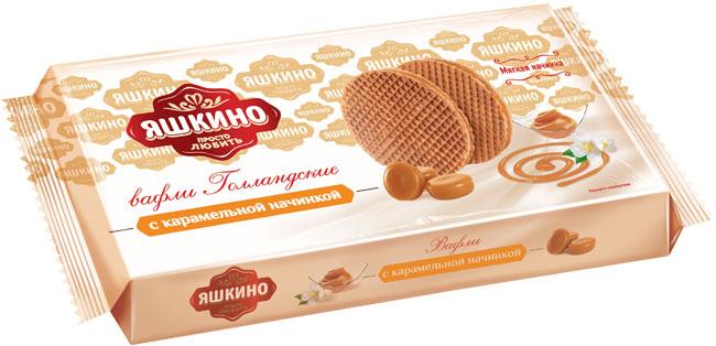 Яшкино вафли голландские с карамельной начинкой, 290 г