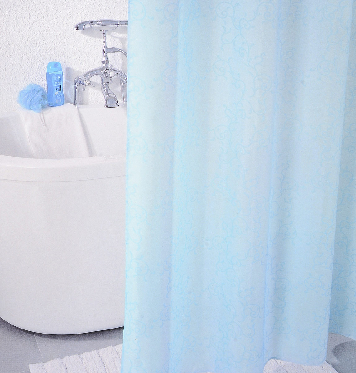 "Штора для ванной комнаты Milardo ""Blue Leaf"", 180 х 200 см SCMI083P"