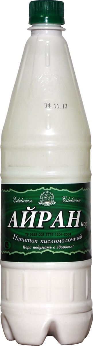 Edelweiss Айран напиток кисломолочный 1%, 1 л3300050АЙРАН - молочный продукт, распространенный на Кавказе, Казахстане, Средней Азии, Крыму и в Сибири. Изготовлен из восстановленного молока, путем молочнокислого брожения. Густой айран служит продуктом питания, разведенный водой - напитком.