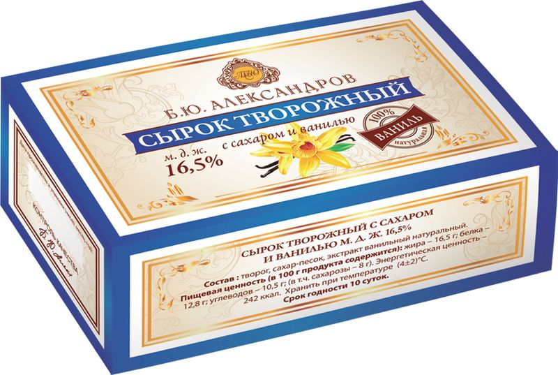Б.Ю.Александров Сырок творожный с сахаром и ванилью 16,5%, 100 г ростагроэкспорт сырок творожный с изюмом 16 5% 90 г